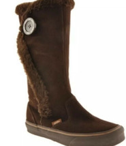 Vans Phoebe Brown Winter Boots Tall Suede Faux Fur Lined Snow Women's 8.5 - $29.65