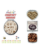 Coffee Lovers Cafe makeup mirror compact mirror purse mirror travel mirror - $11.99