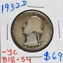 1932D George Washington Quarter 90% Silver Coin Lot# 818-54 image 1