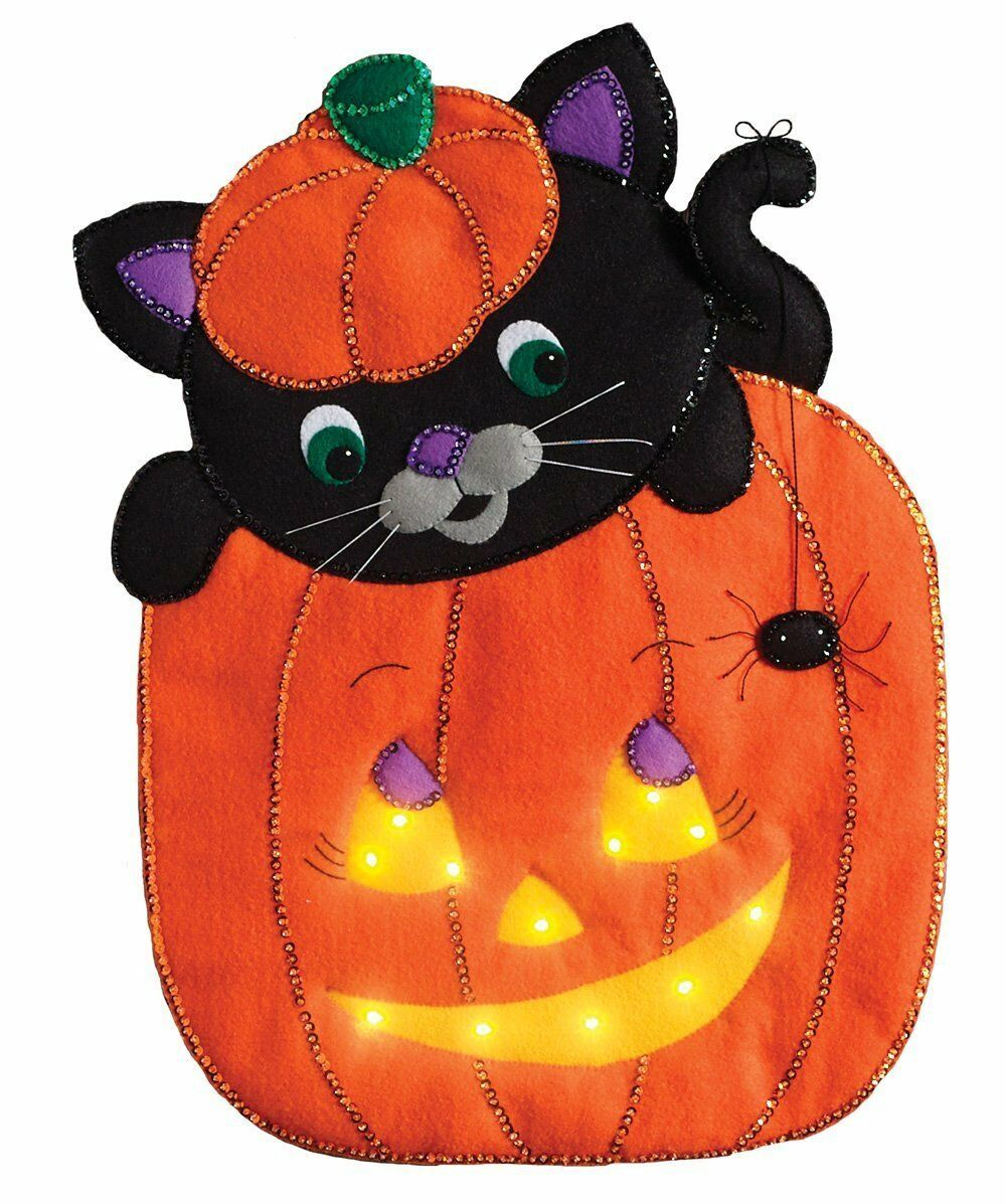 Primary image for Bucilla 'Peek-A-Boo Pumpkin' Felt  Fall Wall Hanging Stitchery Kit 86830