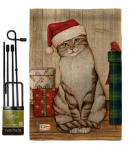 Christmas Kitty Burlap - Impressions Decorative Metal Garden Pole Flag S... - $33.97