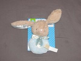 "Dan Dee Bunny Rabbit Blue Brown Satin Ears Easter Baby Rattle Ring Plush 5"" New - $24.74"