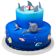 Shark Fin Cake Decoration Party Supplies TOPPER KIT Ocean Animals PLUS 2... - $16.78