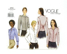 Vogue #2701 SEWING PATTERN  Misses' Long Sleeve BLOUSE Size 12,14,16 Vin... - $4.46