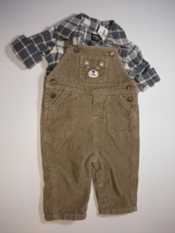 OshKosh, Baby Boy Clothes, SZ 6 MO, Plaid Flannel Shirt with Overall Cords - $15.00