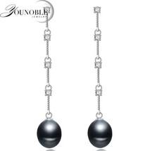 925 Sterling Silver Black Freshwater Pearl Dangle Earrings [EAR-338] - $14.96