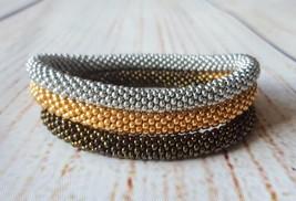 Nepal beaded rope bracelet set roll on bangle bronze gold silver handmad... - $18.00+