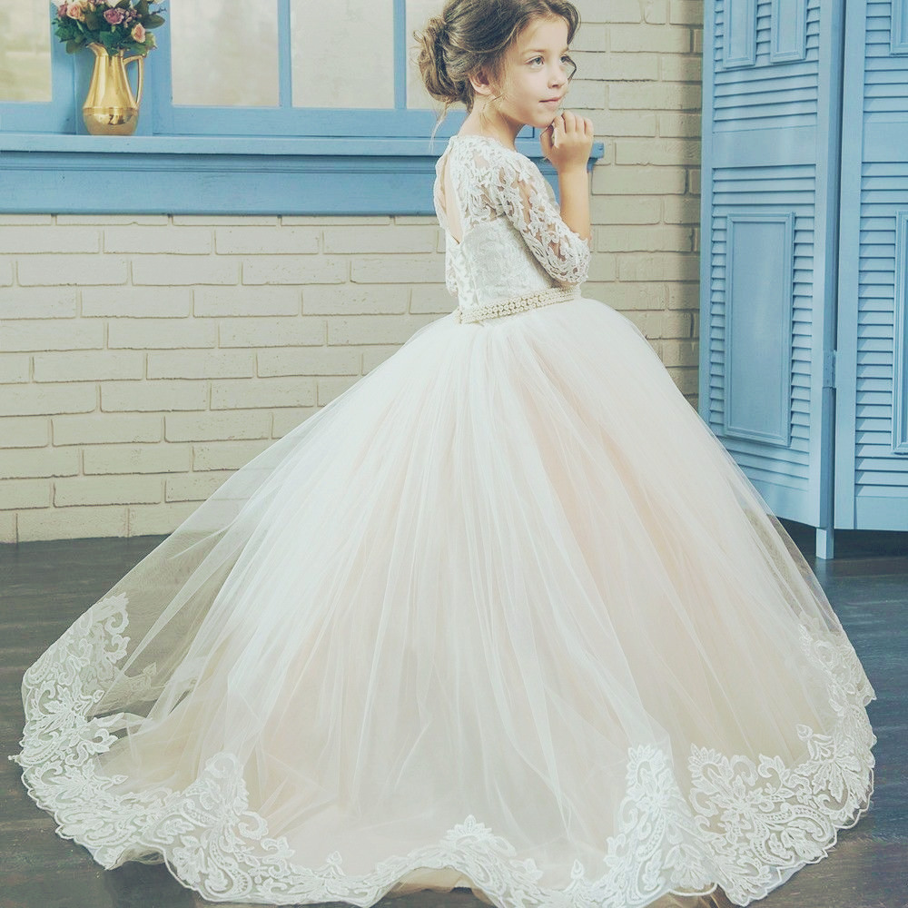 Half Sleeve White Lace Pricess Flower Girls Dress 2018 Beaded Little Girls Gowns