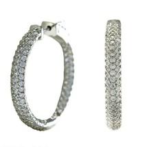 30mm Pave 5A CZ Prong Set Domed InsideOutSide Textured Rhodium Hoop Earr... - $49.49