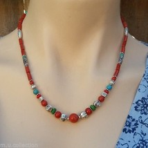 NL-133 Nepali Handmade Tibetan Ethnic Turquoise, Coral and White Metal N... - $31.66