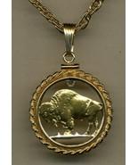 J&J Jewelry Gold Cut-Out U.S.Copper Buffalo Nickel Gold Filled Rope Bezel - $98.95