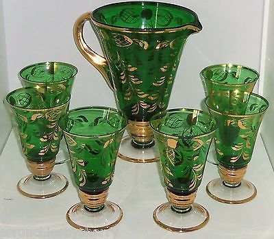 Primary image for Bohemian Emerald Green Gold Pitcher 6 Glasses Tea Cocktail Vintage Mid Century