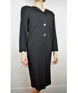 Vintage 1980s Alfred Sung Size 2 Black Long Sleeve Dress With Buttons LBD - $29.52