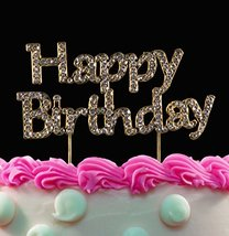 Yacanna Bling Gold Cake Toppers Happy Birthday Cake Topper Gold Birthday... - $12.56