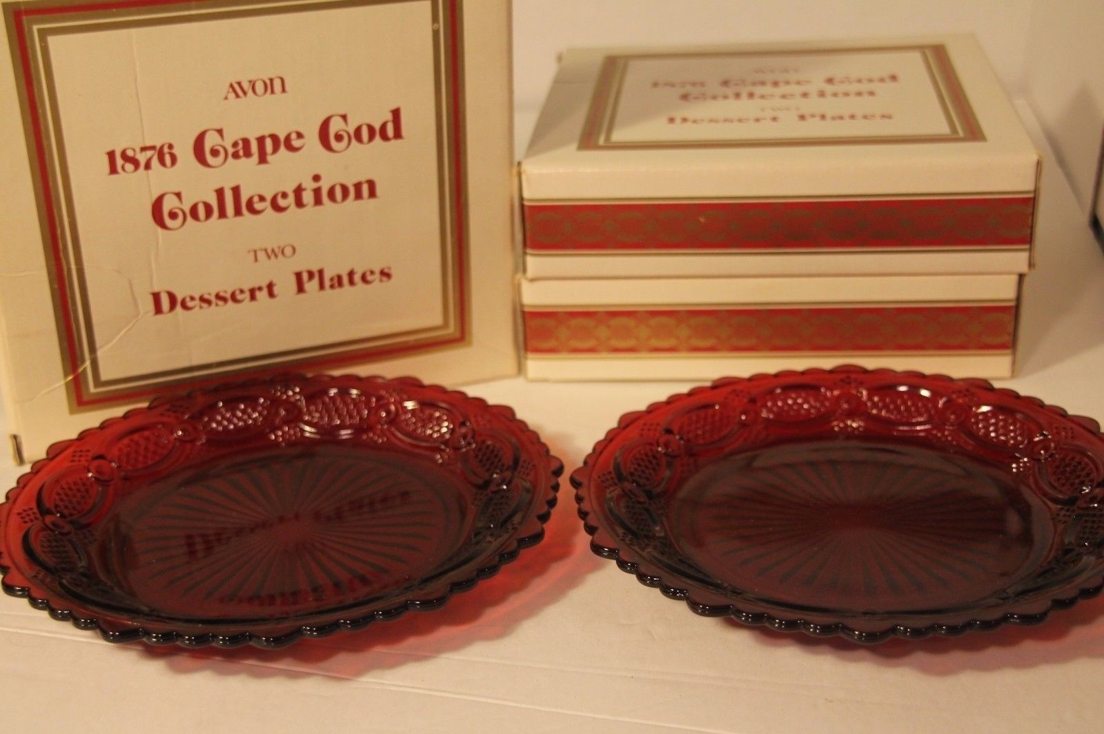 Avon Ruby Red 1876 Cape Cod (6) Dessert Plates 7 1/2 inch With Boxes Vintage