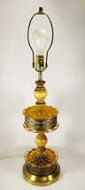Mid Century Amber Quilted Glass Ornate Reticulated Metal & Wood Table Lamp - $99.96