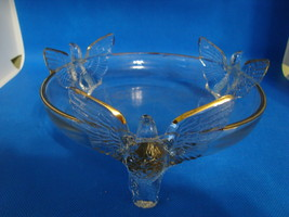 Jennette Glass Co. clear footed candy dish with eagles. - $15.00