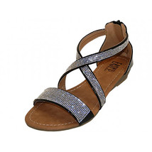 Crystal Rhinestone Cross Strap Gladiator Low Wedge Black Sandals Back Zi... - $19.99