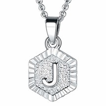 FOCALOOK J Initial Necklace Platinum Plated Tiny Alphabet Charm Letter M... - $10.60