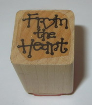 """From The Heart Rubber Stamp Gift Tag Wood Mounted 1"""" Square  - $3.46"""