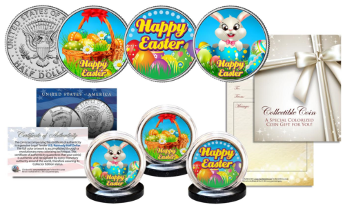 HAPPY EASTER Official Holiday JFK Kennedy Colorized Half Dollars US 3-Coin Set