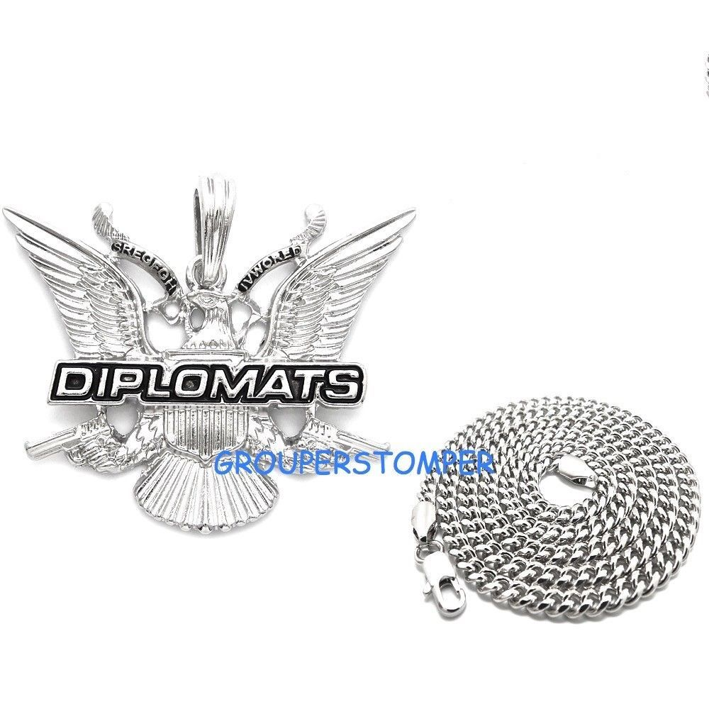 Primary image for Dipset Necklace With Guns New Pendant With 24 Inch Long Cuban Chain Diplomats