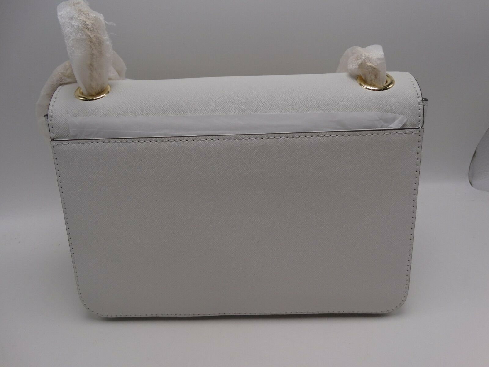 d84f5270992322 Michael Kors Tina Optic White Gold Stud Shoulder Bag (Retail 398) New With  Tag