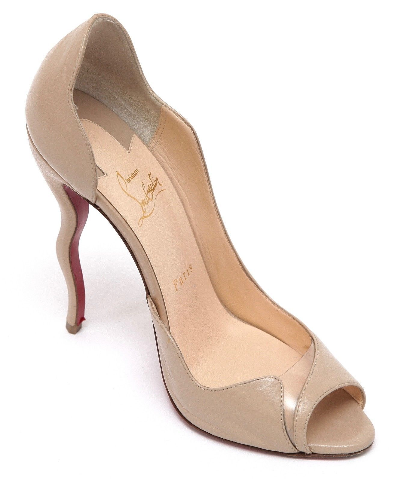 1fcdfeac484 S l1600. S l1600. Previous. Christian Louboutin Pump Leather PVC D Orsay  NUDE WAVY Peep Toe Heel 120mm Sz 38