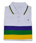Adult Large Mardi Gras Rugby White Purple Green Yellow Knit SS Shirt - $27.99