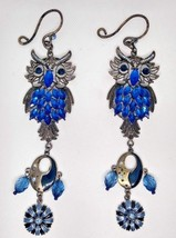 SET OF 2 HANGING OWL ACCENTS WITH FAUX BLUE STONES - $24.75