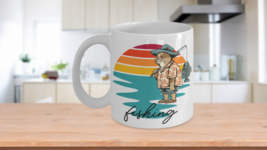 Fishing Retro Sunset Cat Fisherman Coffee Mug - $14.84+