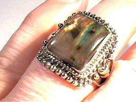 Natural labradorite RING 925 sterling silver 9  bold elegant unisex men ... - £52.86 GBP