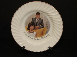 President and Mrs John F Kennedy  Collectors Plate by Sheffield Bone White~1960s - $6.99