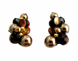 Vintage Trifari Brown & Bronze Pearl Beaded Earring Clips - $22.00