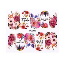 HS Store - 1Pcs WG-2119 Flower Designs Nail Sticker Water Transfer DIY - $2.23