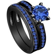 Blue Sapphire 925 Sterling Silver Black Gold Over Bridal Ring Set Free Shipping - $98.99