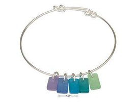 SILVER PLATED BEACH PALETTE BLUE GREEN SEA GLASS BANGLE BRACELET - $33.60