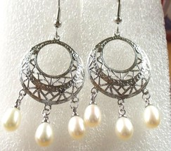 Womens Hook Long Dangle Chandelier Earrings Freshwater Pearl White Black... - $13.97