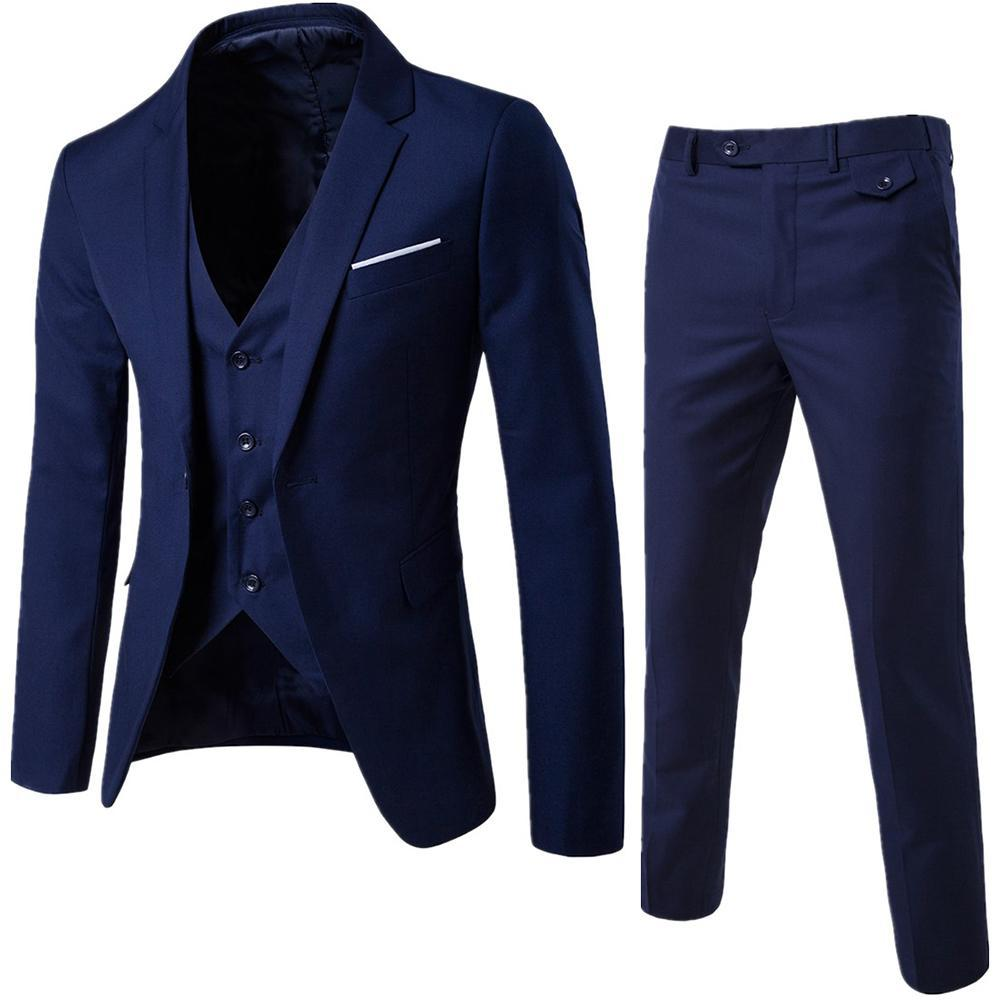 Jacket+Pant+Vest Luxury Men Wedding Suit Slim Fit Costume Business Jacket