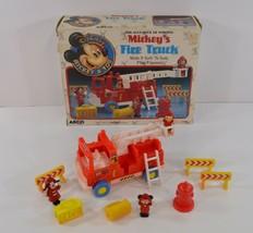 Arco Walt Disney Mickeys Fire Truck 1987 w/ Three Figures Mouse COMPLETE IN BOX - $29.99