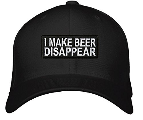 I Make Beer Disappear Hat - Adjustable Mens Black - Funny Quote Drinking Cap