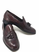 Men 9.5 E/C Burgundy Wingtip Bostonian Shoe Stress Relief Design Tassel Slip On - $49.45