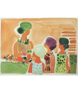 """Zoll Frau Mit Kinder """" Von Frederic Menguy Unterzeichnet Einzigartig Aqu... - $2,298.29"""