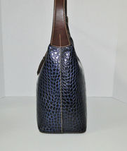 Dooney & Bourke Paige Sac Leather Croco Emb Hobo Blue image 5