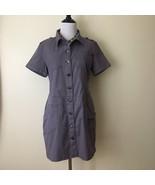 Vintage Dress Jumper Size Large Stretchy Pockets 90s Buttons Short Sleeve - $30.48