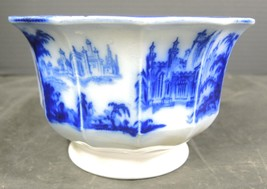 Antique Jacob Furnival Flow Blue 12 Sided Serving Bowl - Gothic Pattern #1 - $56.99