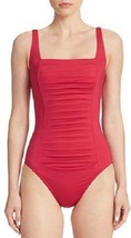Calvin Klein One Piece Sz 12 Strawberry Pink Pleated UV 50+ Swimsuit CG5... - $49.44