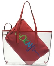 DKNY Brayden Large Clear PVC Tote With Saffiano PVC Trim & Logo Nylon In... - $74.25
