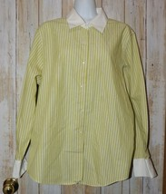 Womens Green White Talbots Long Sleeve Wrinkle Resistant Shirt Size 14 e... - $7.91