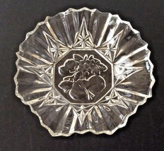 "Pioneer Embossed Fruit Pattern, Federal Glass, 7 3/4"" Ruffle-Edged Bowl - $10.00"